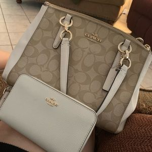 Tan and white coach purse with wristlet OBO